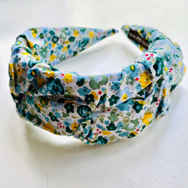 Green and White Ditsy Floral Headband