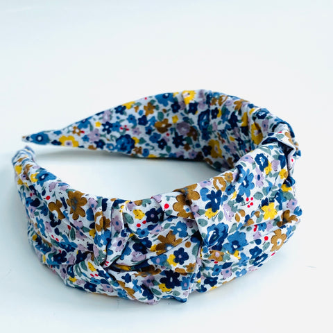 Blue and White Ditsy Floral Headband
