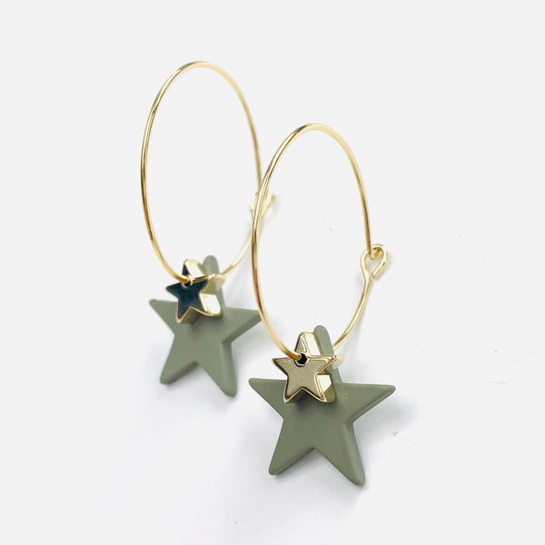 Green and Gold Star Hoop Earrings