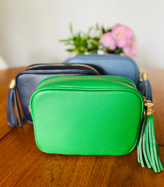 Green Leather Tassel Cross Body Bag