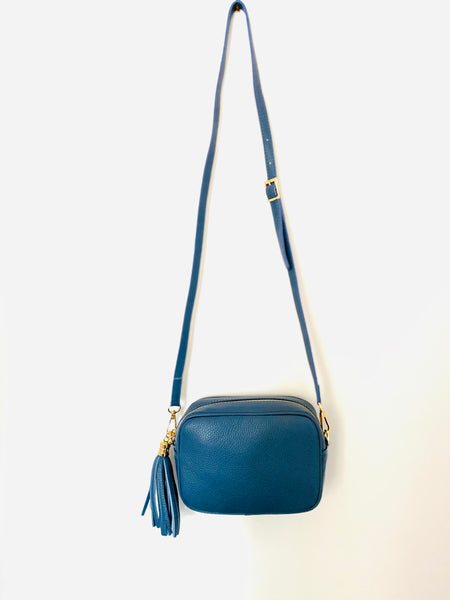 Denim Blue Leather Tassel Cross Body Bag