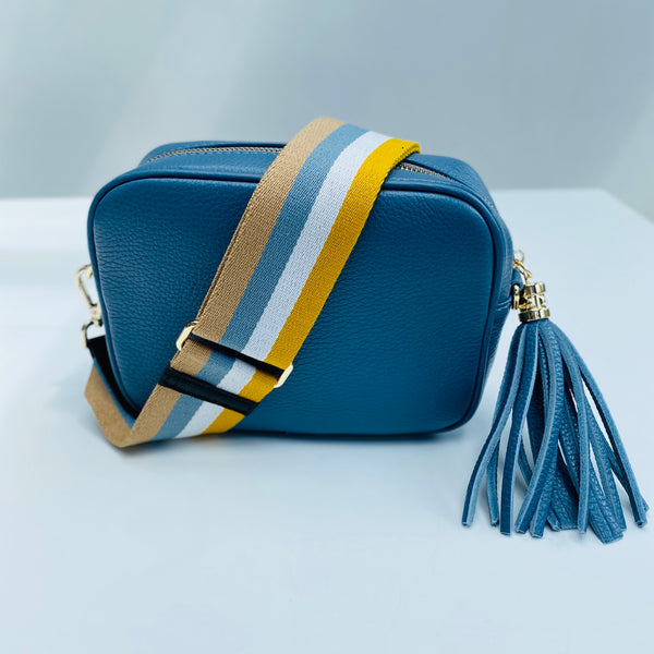 Yellow and Blue Stripe Bag Strap