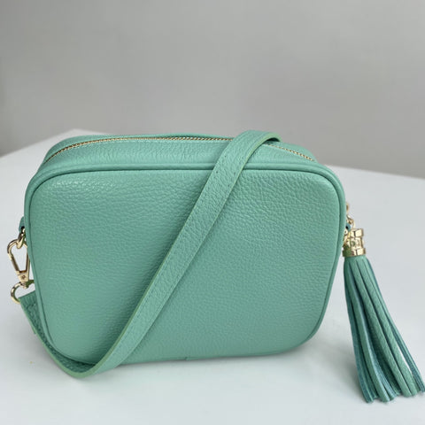 mint green leather bag product picture