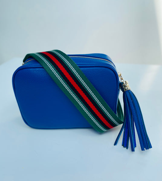 Racing Green and Red Stripe Bag Strap