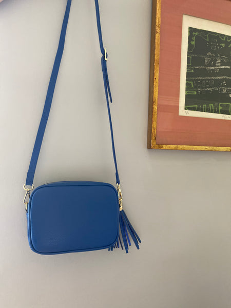 Cobalt Blue Leather Tassel Cross Body Bag