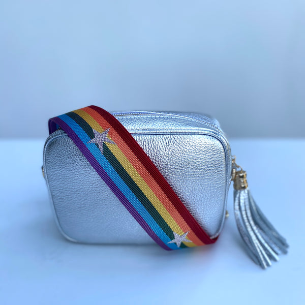 Silver Leather Tassel Cross Body Bag