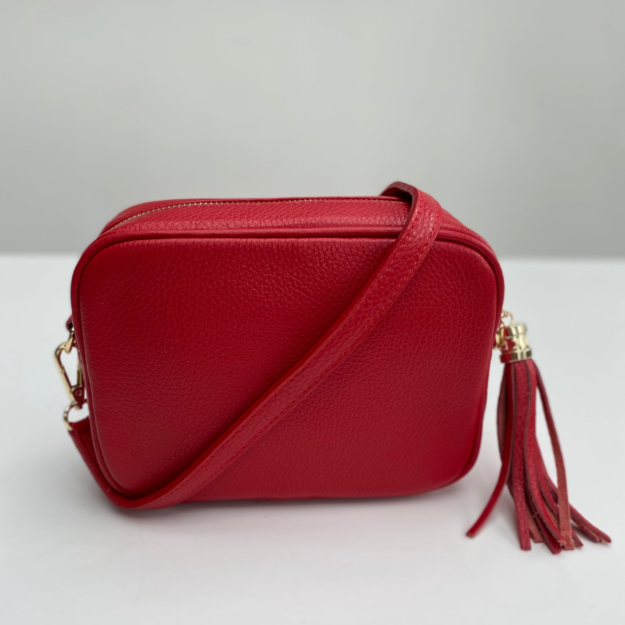 Red Leather Tassel Cross Body Bag