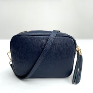 Navy Leather Tassel Cross Body Bag