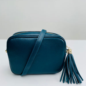 Teal Leather Tassel Cross Body Bag