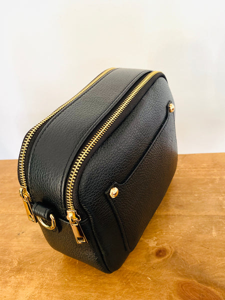 Black Leather Double Zip Cross Body Bag