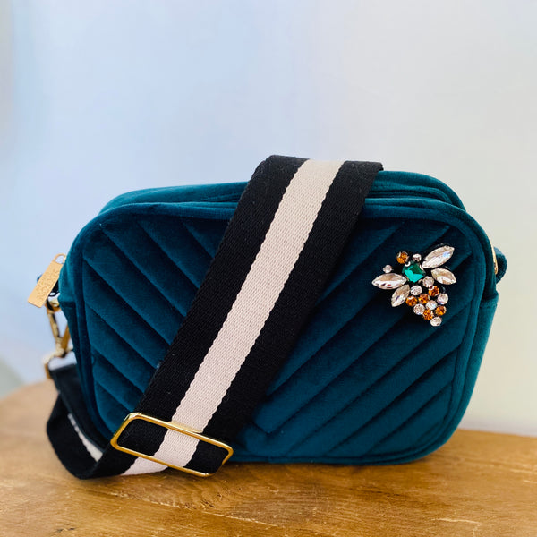 Teal Velvet Cross Body Bag