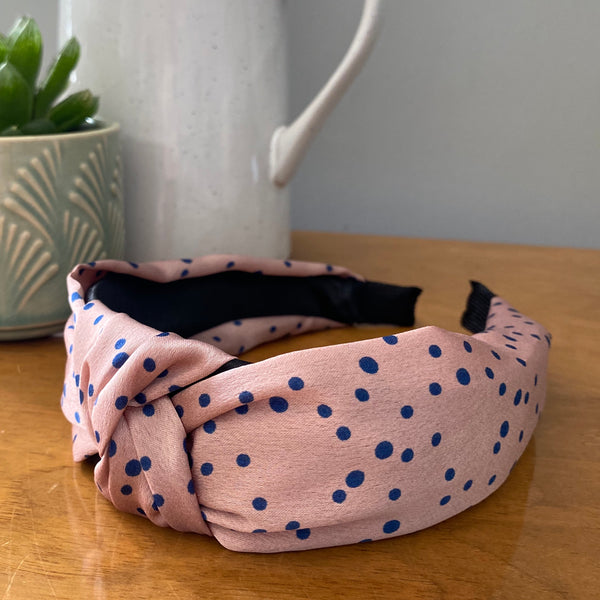 Blush Pink and Navy Polka Print Headband