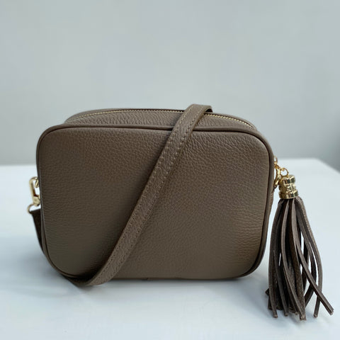 Taupe Leather Tassel Cross Body Bag