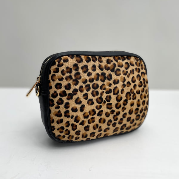 Cheetah Print Leather Cross Body Bag