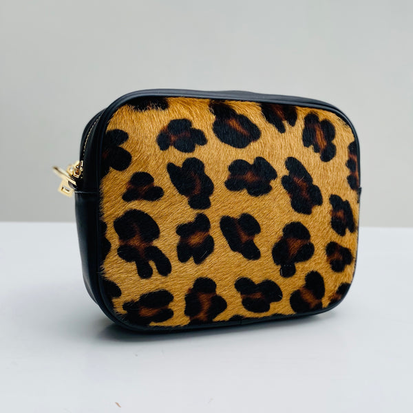 Leopard Print Leather Cross Body Bag