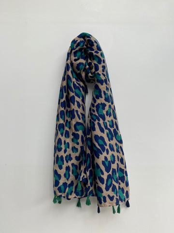 Jade Green and Navy Leopard Print Scarf