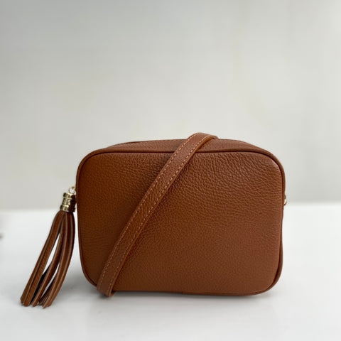 Tan Leather Tassel Cross Body Bag