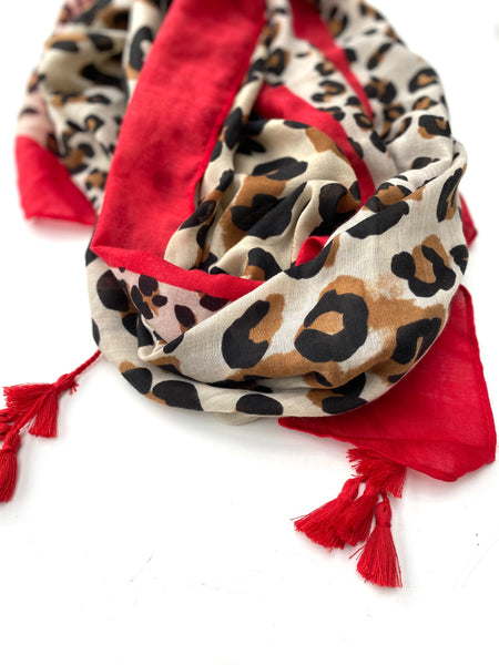 Camel and Red Leopard Print Scarf
