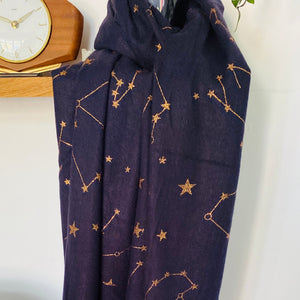 Navy Blue and Rose Gold Starry Scarf