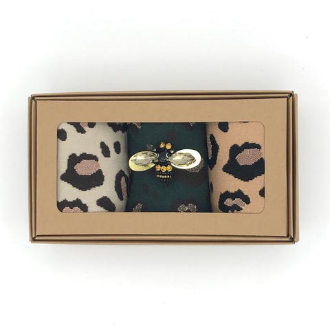 Leopard Luxe Socks Box with Jewel Pin