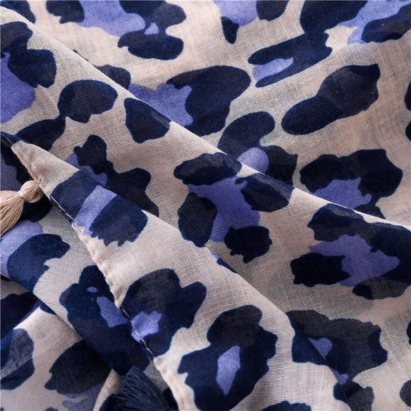 Lilac and Navy Leopard Print Scarf
