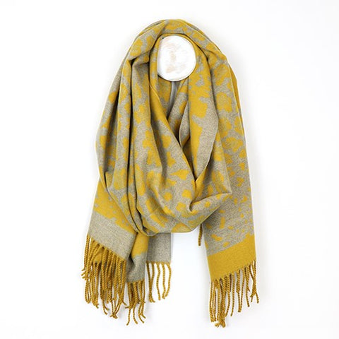 Mustard and Grey Leopard Print Scarf