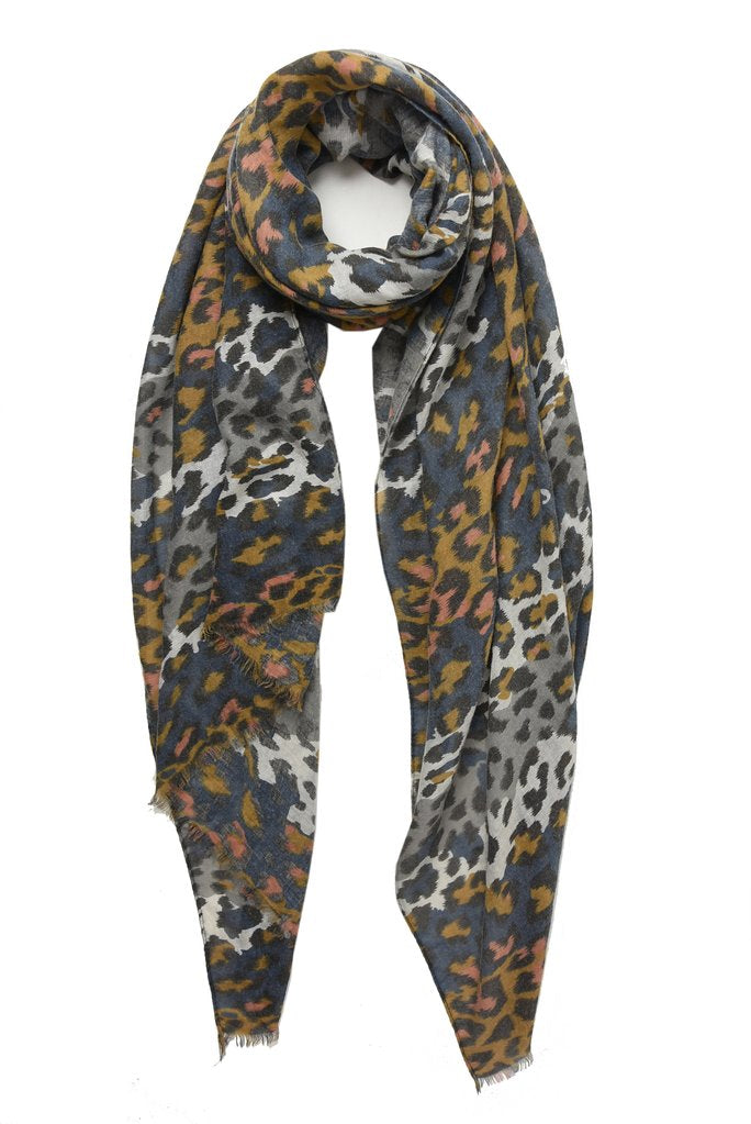 Navy, Camel and Grey Leopard Print Scarf