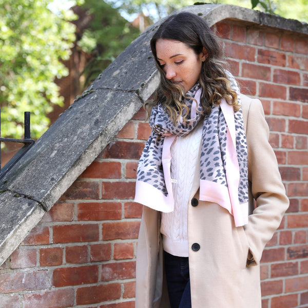 Nude Pink Leopard Print Scarf