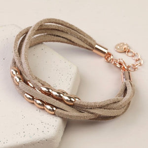 Nude Suede Rose Gold Layered Bracelet