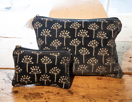 Navy and Cream Thistle Velvet Pouch