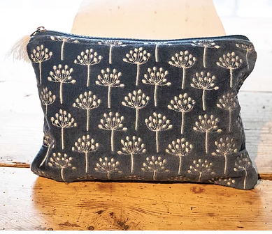 Navy and Cream Thistle Velvet Pouch (two sizes available)