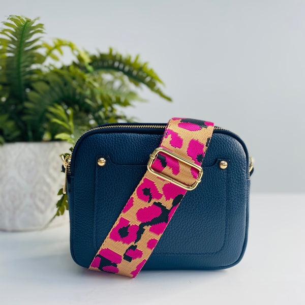 Navy Leather Bag with Fuchsia Pink and Gold Strap