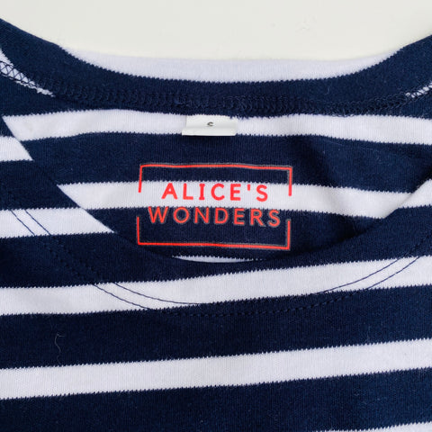 Joy Embroidered Breton Tee - Navy/White. Immediate Despatch.