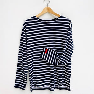 Triple Heart Embroidered Breton Tee (White / Navy or Navy / White)