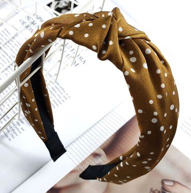Mustard and White Polka Print Headband