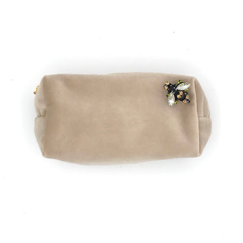 Oyster Velvet Make Up Bag with Jewel Bee Pin
