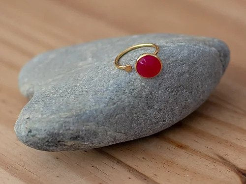 Pink Chalcedony Gold Adjustable Ring