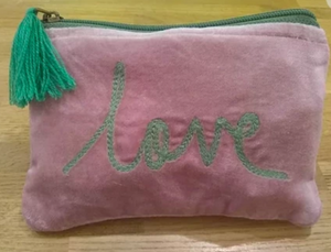 Pink and Green Love Velvet Pouch (small)