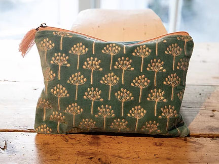 Green and Pink Thistle Velvet Pouch (two sizes available)