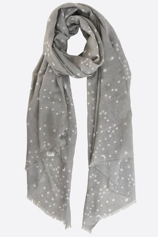 Pale Grey and White Star Scarf