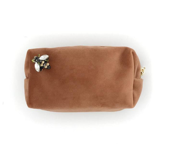 Peach Velvet Make Up Bag with Jewel Bee Pin