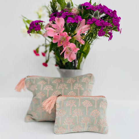 Pale Blue and Pink Thistle Velvet Pouch Large and Small (two sizes) with flowers from Bloom and Wild