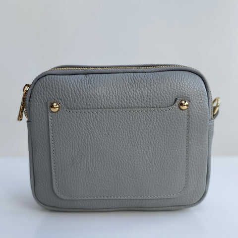 Pale Grey Leather Double Zip Cross Body Bag - pre order