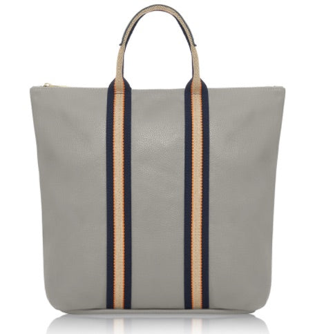 Pale Grey Leather Tote Backpack