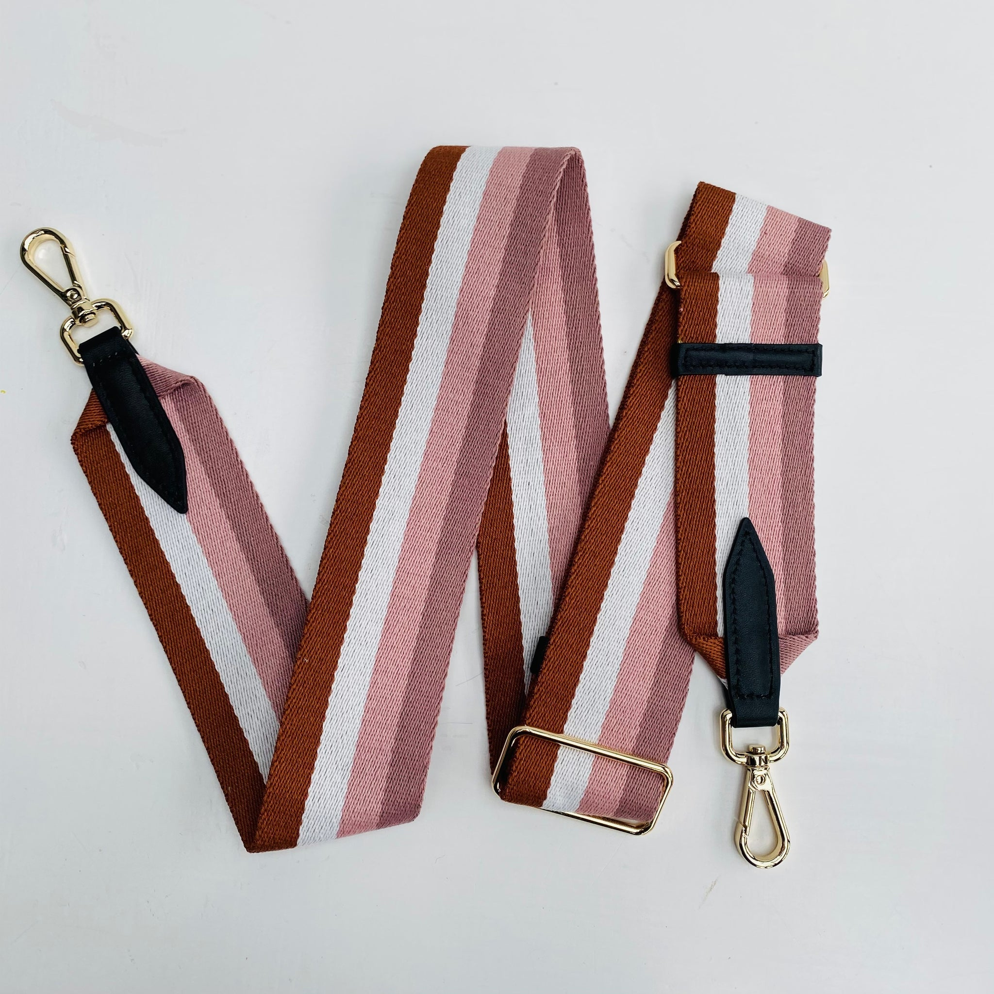 Pinks and Tan Stripe Bag Strap