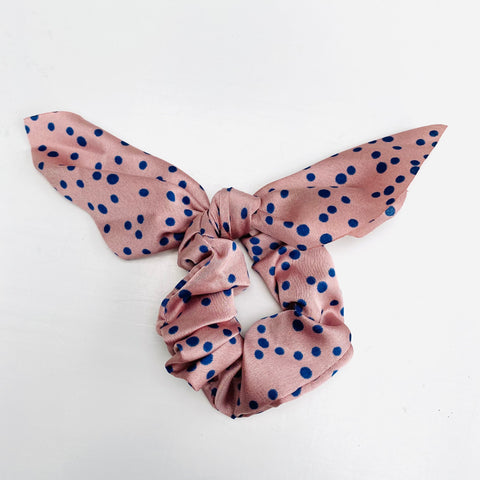 Blush Pink and Navy Polka Scarf Scrunchie