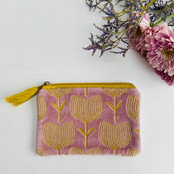 Pale Pink and Yellow Tulip Velvet Pouch (two sizes available)