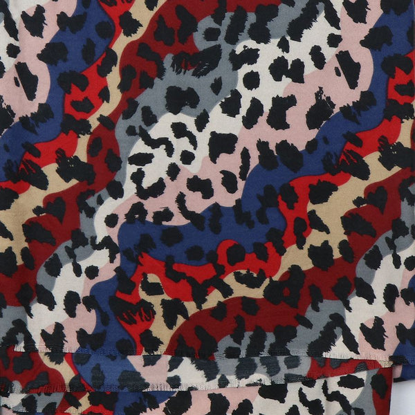 Red and Blue Leopard Print Scarf