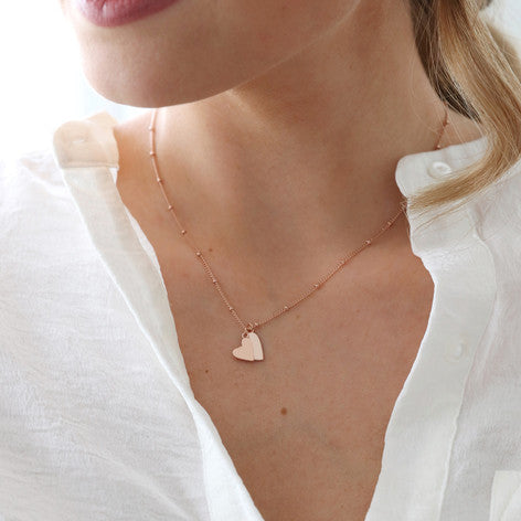 Rose Gold Falling Hearts Necklace