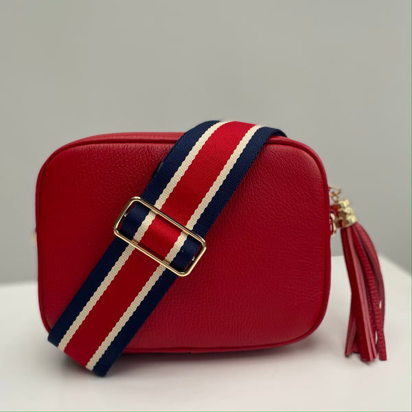 Red, Navy and White Stripe Bag Strap